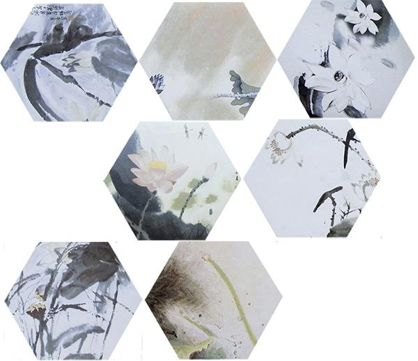 Rustic Hexagon Ceramic Tiles Chinese Style Water Lily Pattern 260 X 300 MM