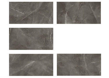 China Dark Grey Gloss Glazed Porcelain Floor Tile With Strong Stone Texture factory