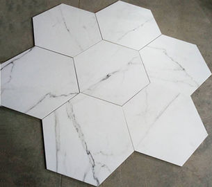 China White Hexagon Ceramic Floor Tile High Wear Resistant For Commercial Building factory